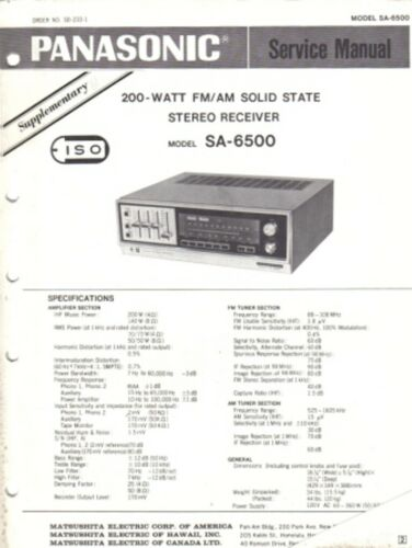 PANASONIC SERVICE MANUAL FOR  SA-6500 SUPPLIMENTARY
