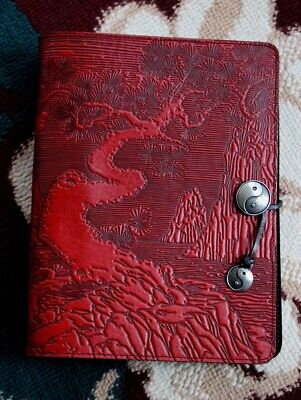 Oberon Design 3 Ring Large Organizer River Garden In Pebbled Red Leather