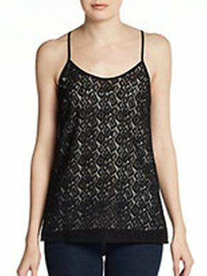 NANETTE LEPORE Festival Top LACE Made in NYC Racerback BLACK Tank 4 $198