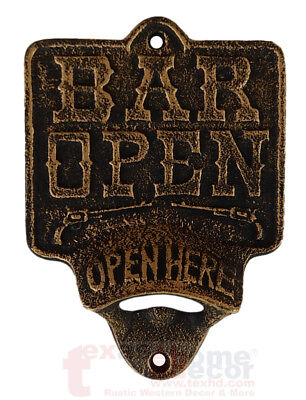 Open Here BAR OPEN Plaque Beer Bottle Opener Rustic Cast Iron Wall Mount Copper