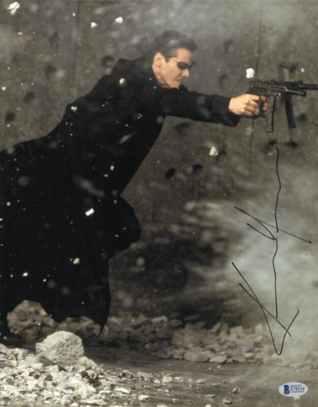 KEANU REEVES SIGNED 11X14 PHOTO THE MATRIX AUTHENTIC AUTOGRAPH BECKETT COA C