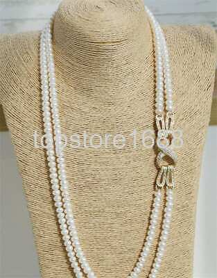 2 row 5-6mm white rondelle cultured Freshwater pearls necklace cz clasp Row White Freshwater Pearls