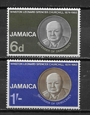 JAMAICA , 1966 , CHURCHILL , SET OF 2 STAMPS , PERF , MNH