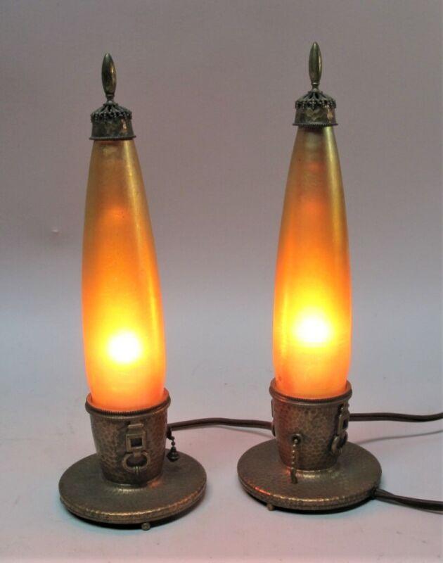 Fine NASH TIFFANY Hammered Copper & Favrile Art Glass Boudoir Lamps  c. 1910