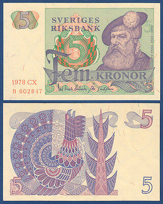 SCHWEDEN / SWEDEN 5 Kronor 1978 UNC  P.51 d