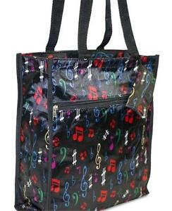 Music Note Print Black Tote Bag New With Tags In Package 068