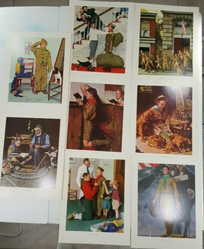 VINTAGE SCOUTING THROUGH THE EYES OF NORMAN ROCKWELL 8  PRINTS SERIES II #3002