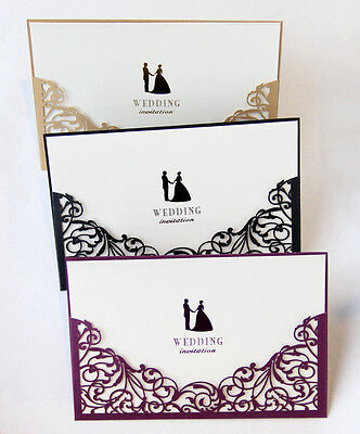 Blank Invitations - Laser Cut Wedding Invitations with Blank Insert Card and Envelope High Quality