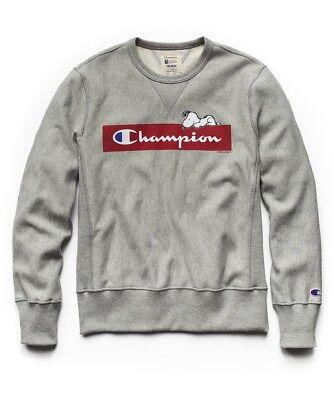 7dda81af Todd Snyder x Champion Peanuts Chilling Snoopy Sweatshirt Light Grey Sz  SMALL