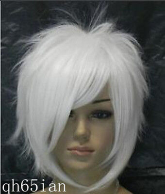 Fashion women Bright white Short Straight Cosplay full Wigs Ladies wig