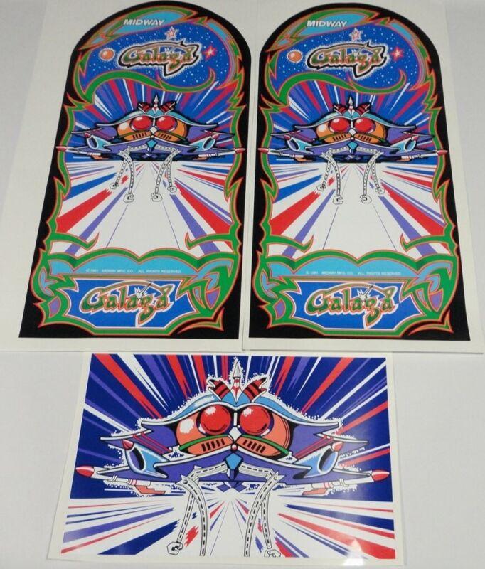 Galaga Arcade Game Side art 3 piece decal set