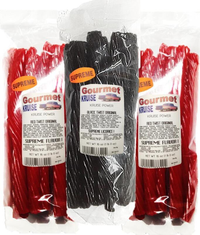 (2)Red (1)Black Licorice Original Twist 3-1lb Bags (NETWT 48 OZ) Gourmet Kruise®