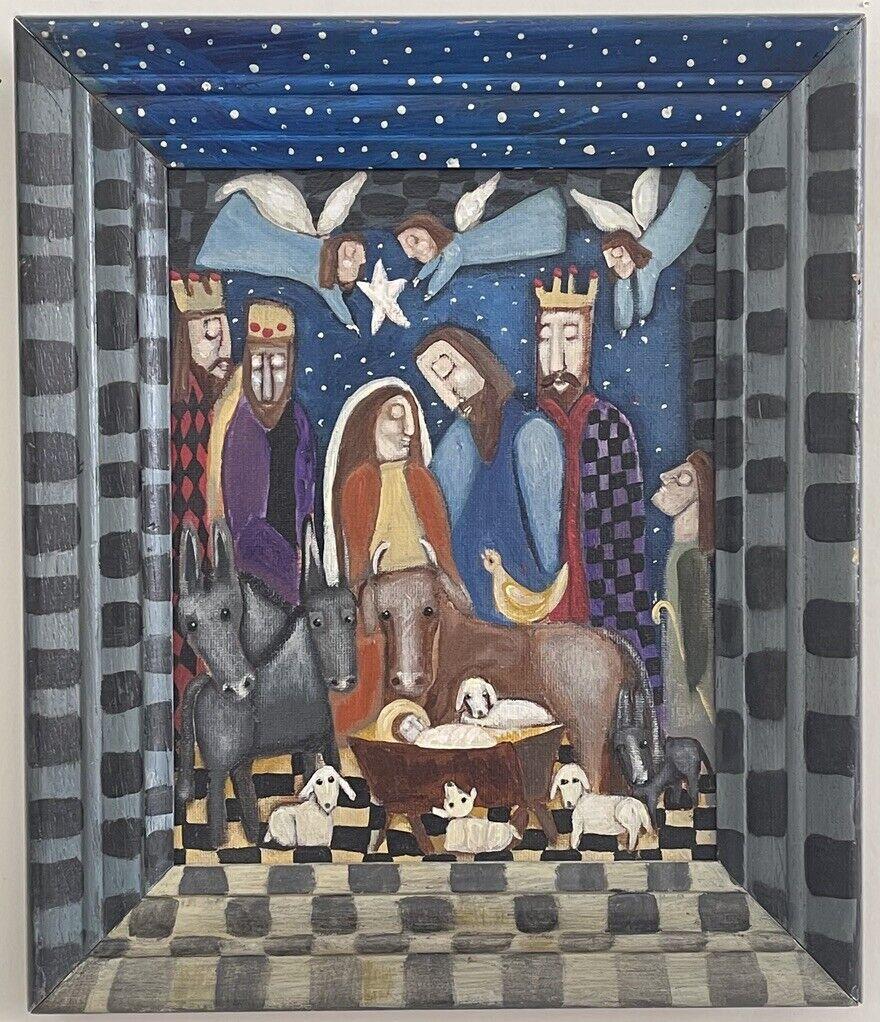 Rose Walton The Nativity Joy To The World 2000 Signed Acrylic Folk Art - $450.00