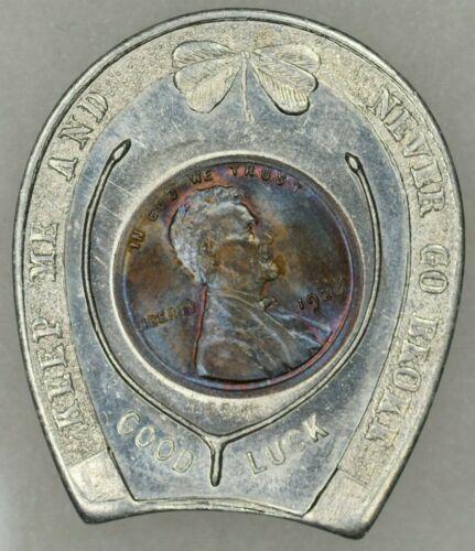 1926 1c Encased Wheat Cent Uncirculated Souvenir of Washington DC TONED PQ+++
