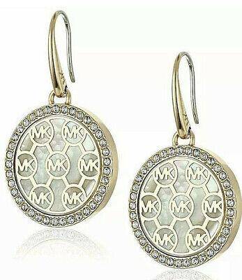 NWT MICHAEL KOR'S GOLD CRYSTAL FRAMED DROP EARRINGS MKJX5367710 MSRP $95.00