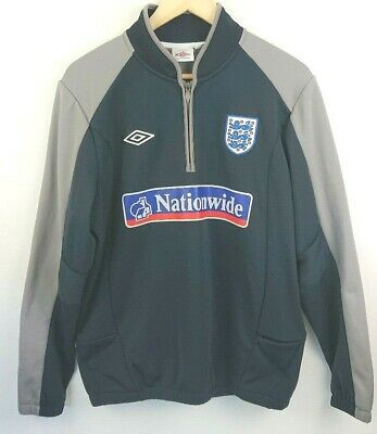 Umbro Men's England Fleece Zip Mock Neck Football Training Top Track Jacket -