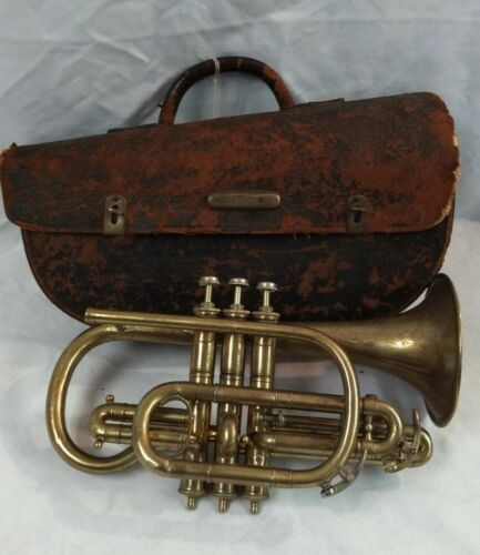 c1900 M. Slater Bb High Pitch Cornet w/ Leather Case