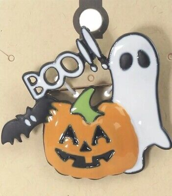 HAPPY HALLOWEEN JACK O LANTERN GHOST BAT BOO!! BLACK METAL BROOCH