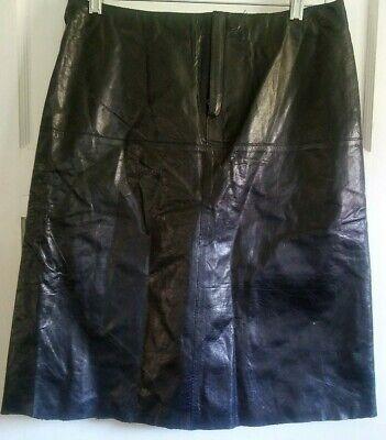 Banana Republic Women's Black Leather Dressy Casual A Line Skirt Sz 4