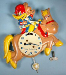 1959 Woody Woodpecker Pendulum Action Wall Clock Working Walter Lantz Cartoon