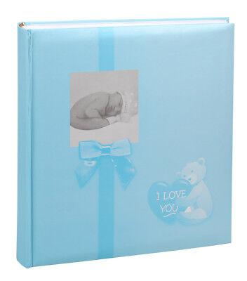 Baby Fotoalbum in Blau 30x30 cm 100 Seiten für 600 Fotos Kinder Foto Album