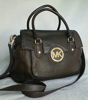 MICHAEL KORS Margo brown Leather crossbody Shoulder Satchel purse handbag bag