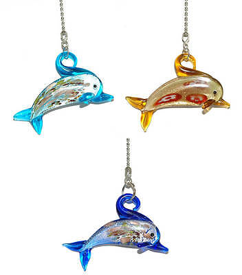 - COLORFUL GLASS DOLPHIN CEILING FAN PULL - 3 COLORS - U PICK