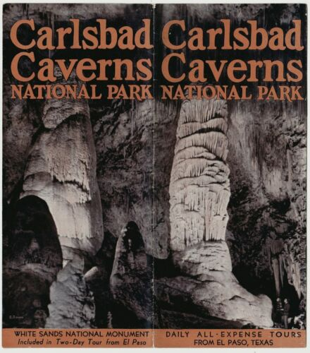 brochure CARLSBAD CAVERN Coaches Dale Resler National Park Tours fr El Paso 1940