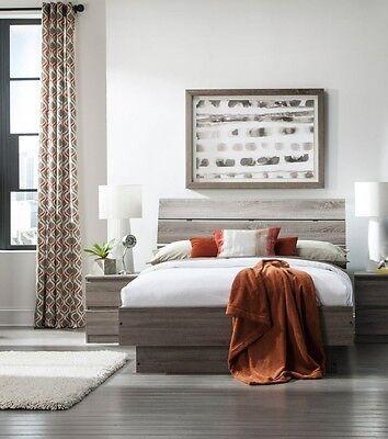 3 Piece Truffle Brown Queen Platform Bed Nightstand Set Bedroom Home Furniture