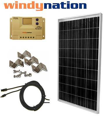 100 W Watt 100W  PV Solar Panel Kit 12V w/ LCD Controller RV, Boat, Off Grid