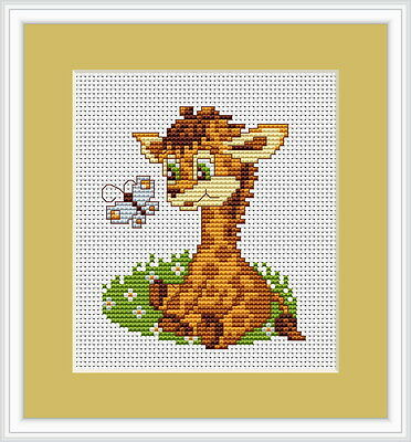 Baby Giraffe & Butterfly Counted Cross Stitch Kit Luca S Beginner B044