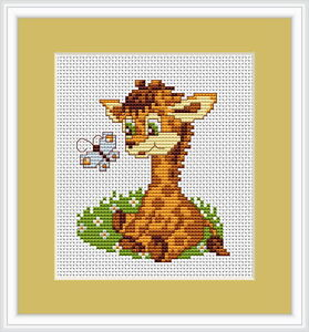 Baby Giraffe & Butterfly Counted Cross Stitch Kit Luca S Beginner B044