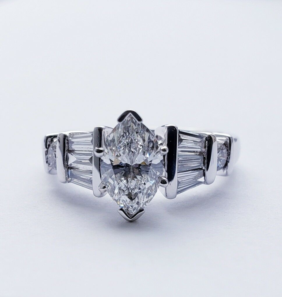 1.54 Carat GIA Certified Marquise Diamond Engagement Ring