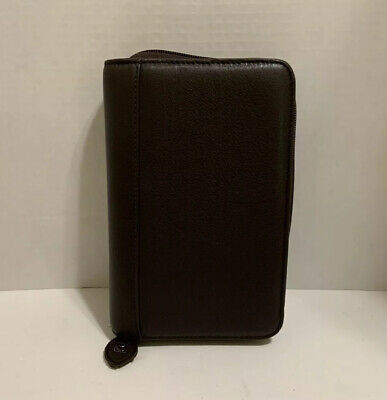 Compact Planner Day-timer - Brown Leather Full Zip Binder Pages Dividers