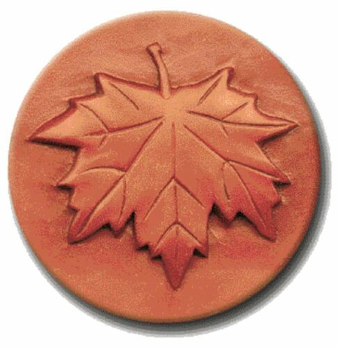 """RYCRAFT 2"""" Round Cookie Stamp with Handle & Recipe Booklet--MAPLE LEAF"""