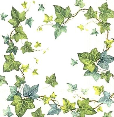 4 Lunch Paper Napkins for Decoupage Party Table Craft Vintage Ivy Green Dream