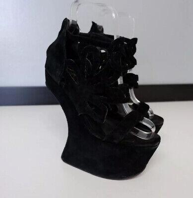 Jeffrey Campbell Black Suede Leather Shoes Size 37  Uk 4 Havanna Wedge Platform