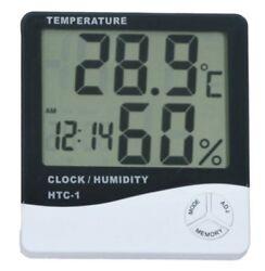 Thermometer Digital LCD Hygrometer Temperature Humidity Meter Alarm Clock Indoor