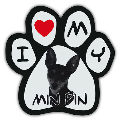 Picture Paws | Dog Paw Shaped Magnets: I LOVE MY MIN PIN (MINIATURE PINCHSER)