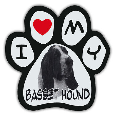 Picture Paws | Dog Paw Shaped Magnets: I LOVE MY BASSET HOUND | Car Magnet