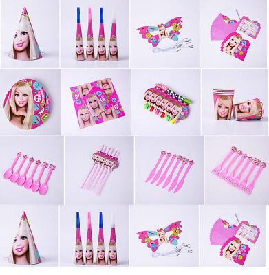 Barbie Princess Kids Birthday Party Tableware Supply Hats Mask Straw Cards Plate - Party Straw Hats