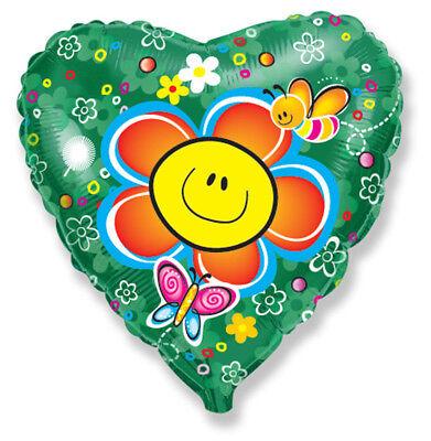 Blume mit Lachendem Gesicht Herz  ca. 45cm Luftballons Folienballon xxl