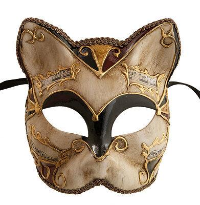 Mask Cat Venetian Carnival Venice-Black Bordeaux Golden -1939-V83B