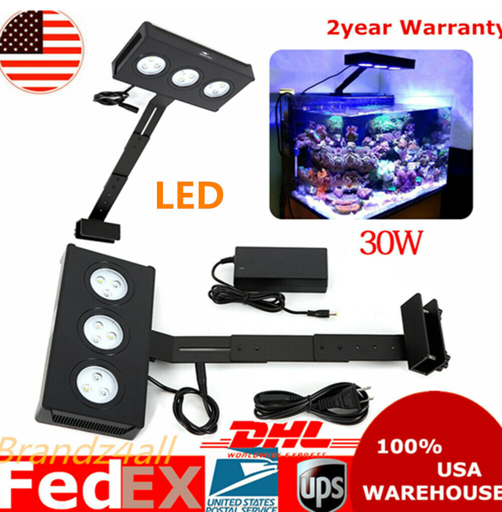 30W Touch Control Full Spectrum Marine Reef Fish Tank LED Light Nano Coral Grow - $59.88