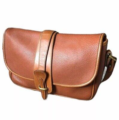 Vintage Dooney & Bourke Tobacco Brown Pebbled AWL Carrier Crossbody Bag Purse