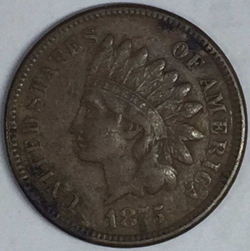 1875 Indian Head Cent Penny. Full Liberty! Nice Coin