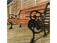 Vintage Victorian Cast Iron 3 Seater Garden Bench