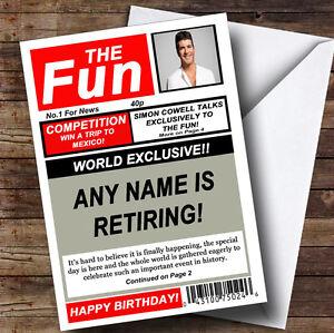 Funny Joke Spoof Newspaper Personalised Retirement Greetings Card