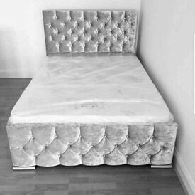 🎆💖🎆BRAND NEW CALL NOW🎆💖🎆 CHESTERFIELD BED CRUSHED VELVET DOUBLE BED WITH MATTRESS OPTIONS