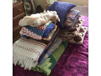 Job lot. Cushions and blankets. Carboot. Market stall